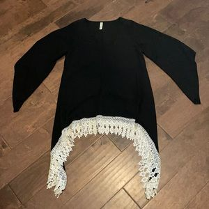 Black tunic with white lace